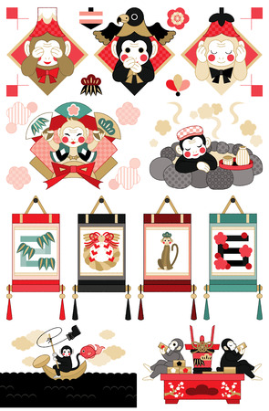 Japanese monkey illustrations