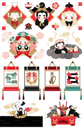 Japanese monkey illustrations