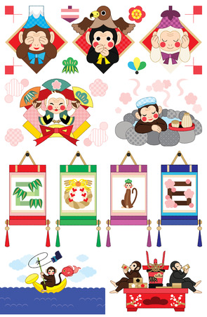 new year s card: monkey year illustrations
