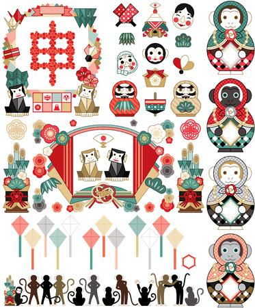 monkey year  イラスト・ベクター素材