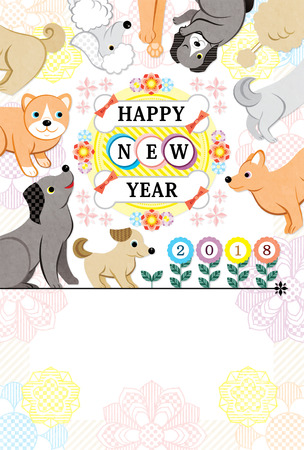 Happy new year dog year 2018 colorful flower 写真素材