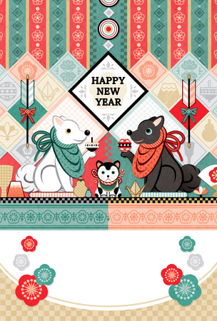 New Year's card Japanese style design dog year HAPPY NEW YEAR 写真素材