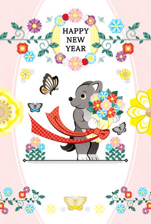 2018 2030 New Year's card template dog bouquet butterfly HAPPY NEW YEAR 写真素材 - 84322098