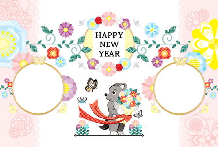 2018 2030 New Year's card template dog bouquet butterfly photo frame HAPPY NEW YEAR 写真素材