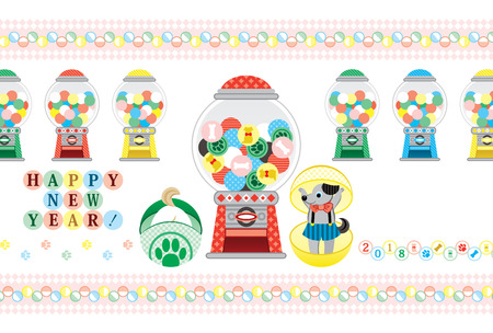 2018 new year greeting card capsule toy happy new year