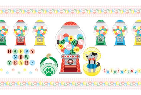 2018 nuovo anno biglietto di auguri capsula giocattolo felice anno nuovo Vettoriali