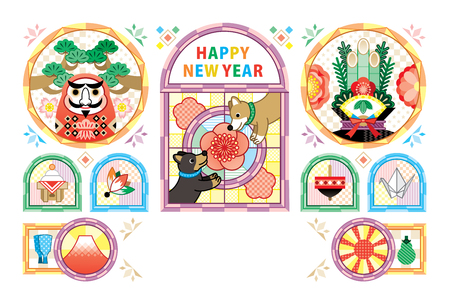 Dog New Year's card template Stained glass wind white background Japanese style design HAPPY NEW YEAR  イラスト・ベクター素材