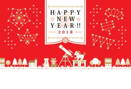 New year greeting card 2018.  イラスト・ベクター素材