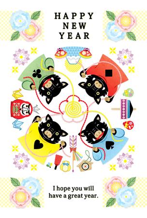 four boar illustration new years card 2019 design HAPPY NEW YEAR Stok Fotoğraf