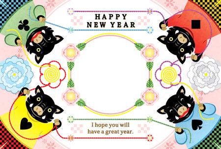 four boar illustration new year's card 2019 design frame