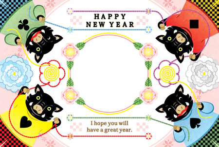 four boar illustration new years card 2019 design frame