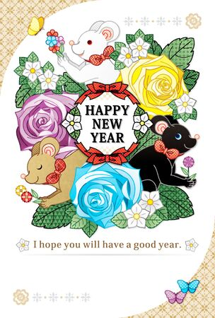 HAPPY NEW YEAR 2020 NEW YEAR'S card year of the mouse and flower illustration greeting card design