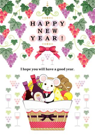 Year of the Mouse New Year's Card Mouse Grapes Wine Food Basket Illustration Greeting Card Design HAPPY NEW YEAR!