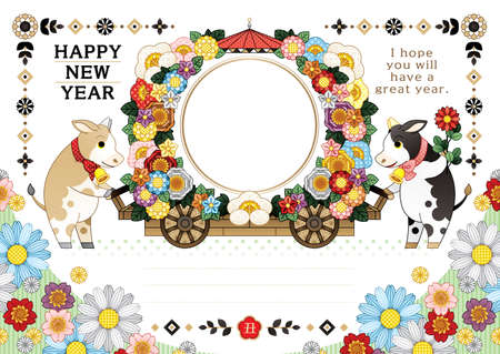 year of the ox illustration new year's card greeting post card design cow and flower cart frame happy new year