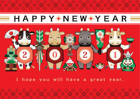 year of the ox illustration new year's card greeting post card design cow and Japanese lucky charm Japanese style red background happy new year