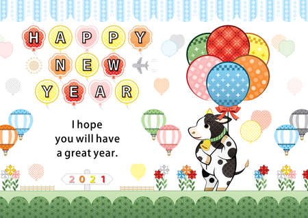 year of the ox illustration new year's card greeting post card design cow and colorful balloon happy new year