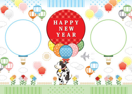 year of the ox illustration new year's card greeting post card design cow and balloon frame happy new year  イラスト・ベクター素材