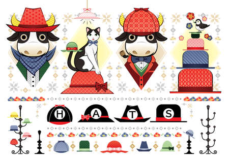 various hat Illustration cowboy bull detective bull cat bird hats