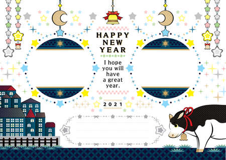 year of the ox illustration new year's card greeting post card design cow and Taurus in the twinkle starry sky frame happy new year