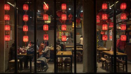 Dinner of Spring Festival at restaurant Editorial