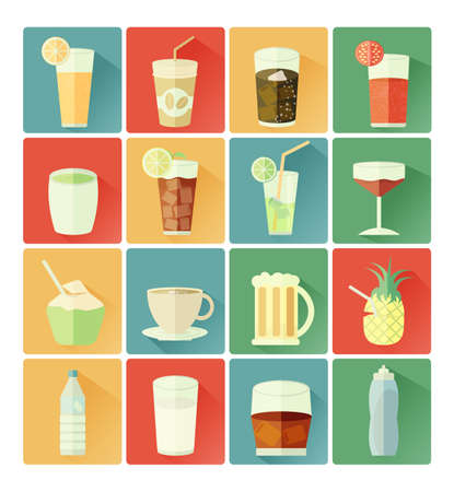 drinking: flat icons drink set