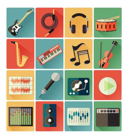 saxofón: conjunto de iconos planos música