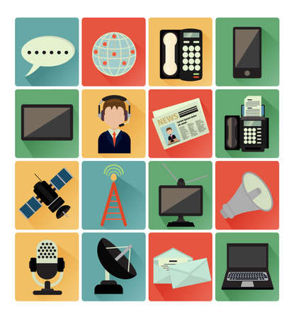 flat icons communication set Vector