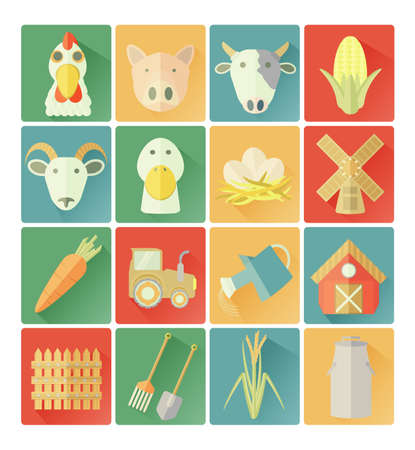 flat icons farm set Vector