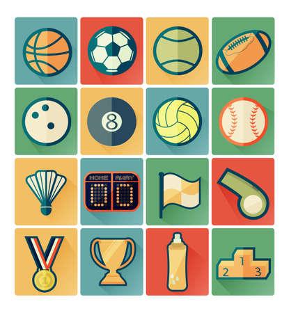 flat icons sport set Vector