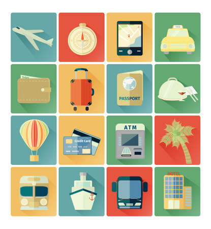 flat icons travel set Vector