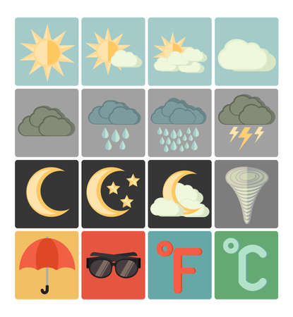 flat icons weather set Vector