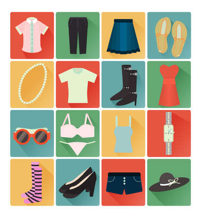 flat icons lady clothes set Vector