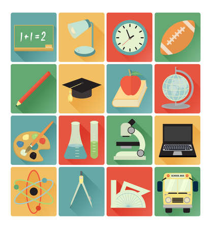 vector flat icons education colorful set Vector