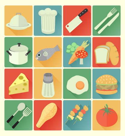 vector flat icons food colorful set Vector