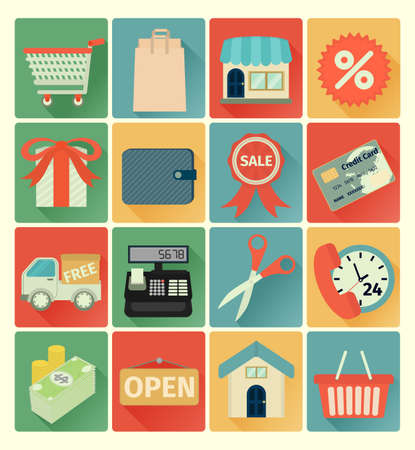 cashier: vector flat icons shopping colorful set
