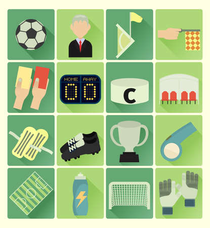 goal cage: vector flat icons soccer colorful set