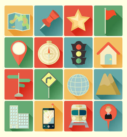 traffic light: map icons Illustration