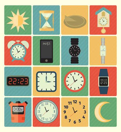 reloj de sol: iconos del tiempo Vectores