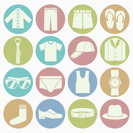 gent clothes icons set Vector