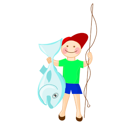 Happy fisherman with australian fish perl perch. Successful tropical fishing. Vector cartoon isolated.
