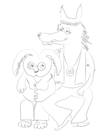 Wolf in sheep's clothing. False friend: one pretends to be a pacifist, but the rabbit suspects the worst, vector graphic hand drawn sketch image. 版權商用圖片 - 95458187