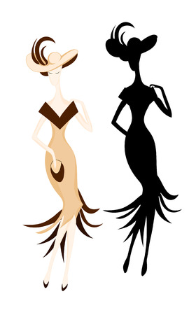 Fashion woman with brown feathers on hat and sand dress. Color and silhouette vector image.