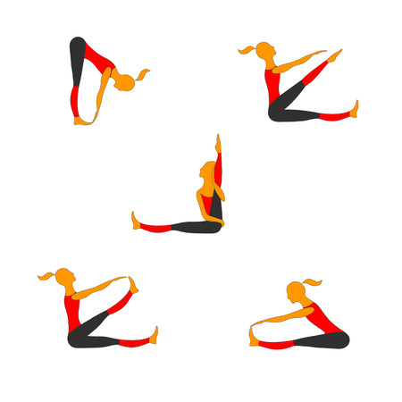 Women practice gymnastics in different poses. Vector color images.