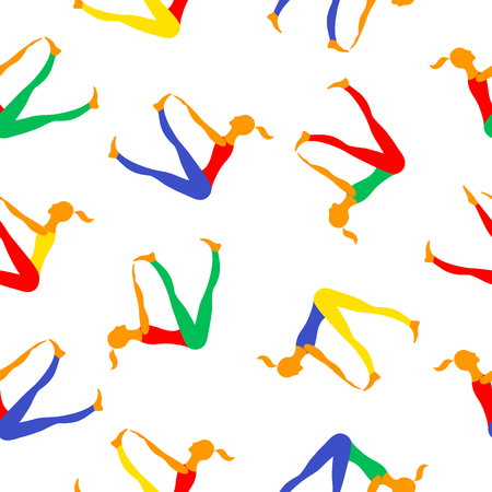 Women practice gymnastics in sit poses. Vector seamless pattern images.