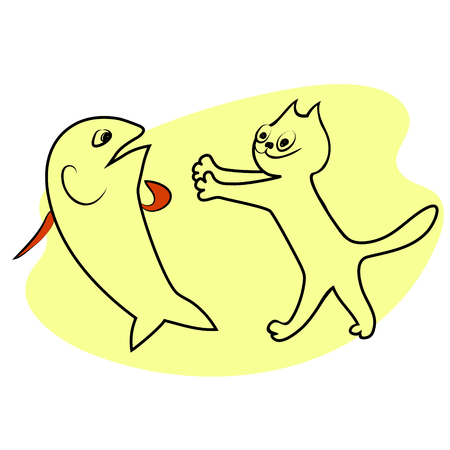 Cat smiles and wants to hug the shocked. Vector color drawing image.