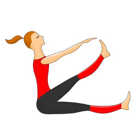 Girl sit and practices gymnastics. Vector color illusrtation. Illustration