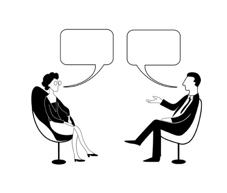 Talk shows, interview or discussion. Man in jacket and tie asks to woman in glasses. They sit in chairs facing each other and talking with bubbles. Vector contour drawing image.  イラスト・ベクター素材