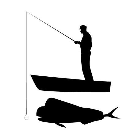 Old man in cap catching big coryphaena with fishing rod on boat. Vector black silhouette image.
