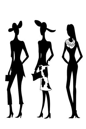 4 schwarze Silhouetten der Modefrauen. Vektor-Skizze-Bild. Vektorgrafik