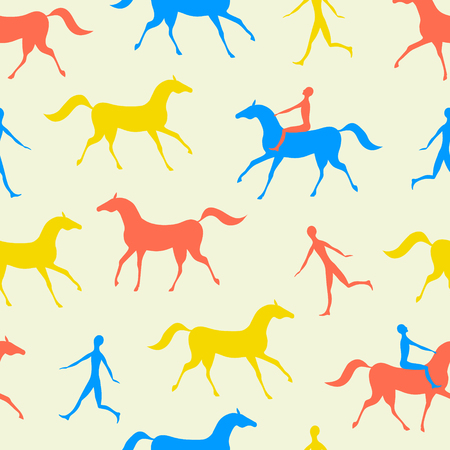 Man and horse movement red, blue and yellow seamless pattern. Colorful vector background. Çizim